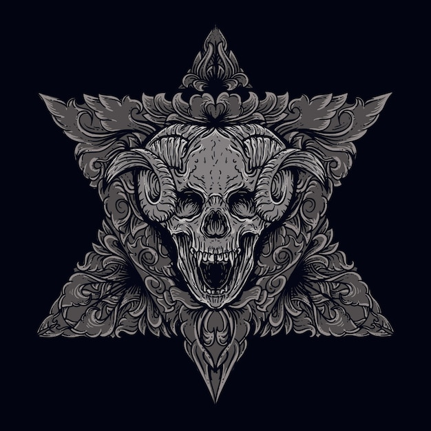 Illustrazione di opere d'arte e teschio diavolo design t-shirt con ornamento incisione Vettore Premium