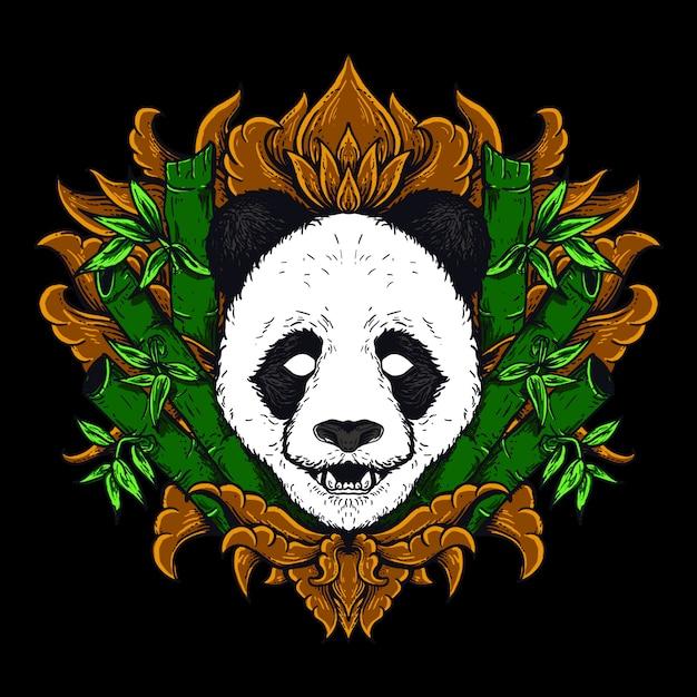 Illustrazione dell'opera d'arte e disegno della maglietta ornamento dorato dell'incisione della testa del panda Vettore Premium