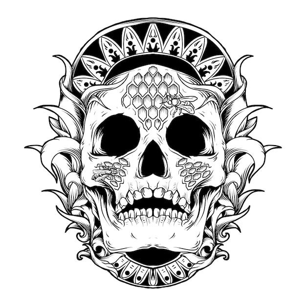 Illustrazione dell'opera d'arte e disegno della maglietta ornamento dell'incisione dell'alveare dell'ape del cranio Vettore Premium