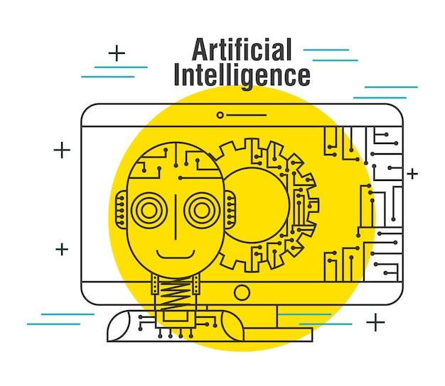 Rete di attrezzi del robot del computer di intelligenza artificiale Vettore Premium