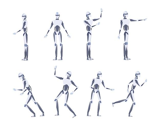 Concetto di intelligenza artificiale. tecnologia futuristica. personaggio robot con varie viste, pose e gesti. set di illustrazione Vettore Premium