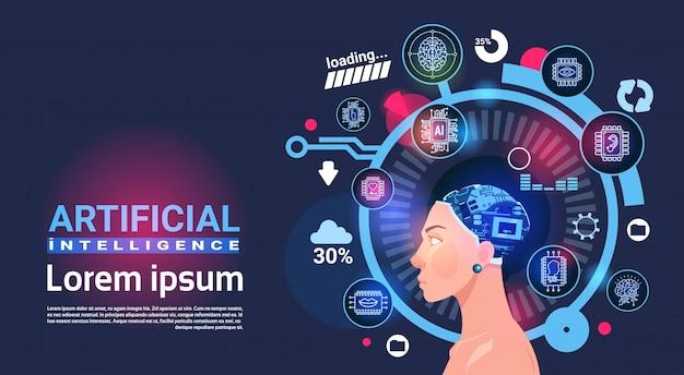 Insegna di robot di tecnologia moderna del cervello cyber capo di intelligenza artificiale femminile con lo spazio della copia Vettore Premium