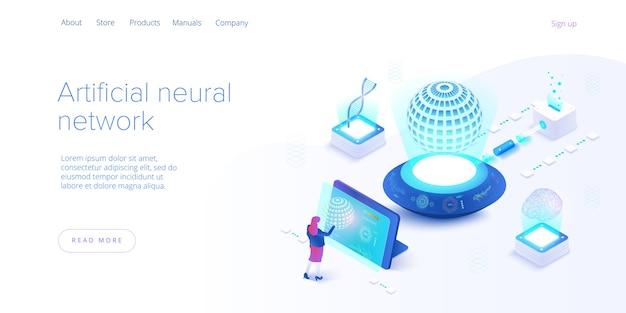 Intelligenza artificiale o concetto di rete neurale in isometrico. sfondo di tecnologia neuronet o ai con robot e femmina umana. modello di layout banner web. Vettore Premium