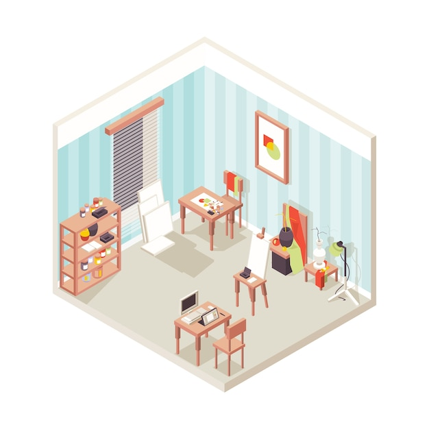 Interiore dello studio dell'artista. scuola espositiva del luogo di pittura per il disegno isometrico di vettore di studio ispiratore di designer. interiore dello studio dell'artista, stanza con l'illustrazione della pittura dell'attrezzatura di arte Vettore Premium
