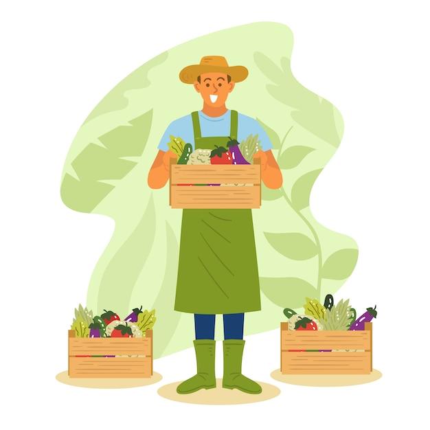 Illustrazione artistica con il concetto di agricoltura Vettore Premium