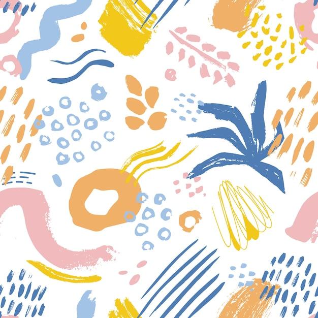 Modello senza cuciture artistico con macchie, segni e tracce di vernice colorata Vettore Premium