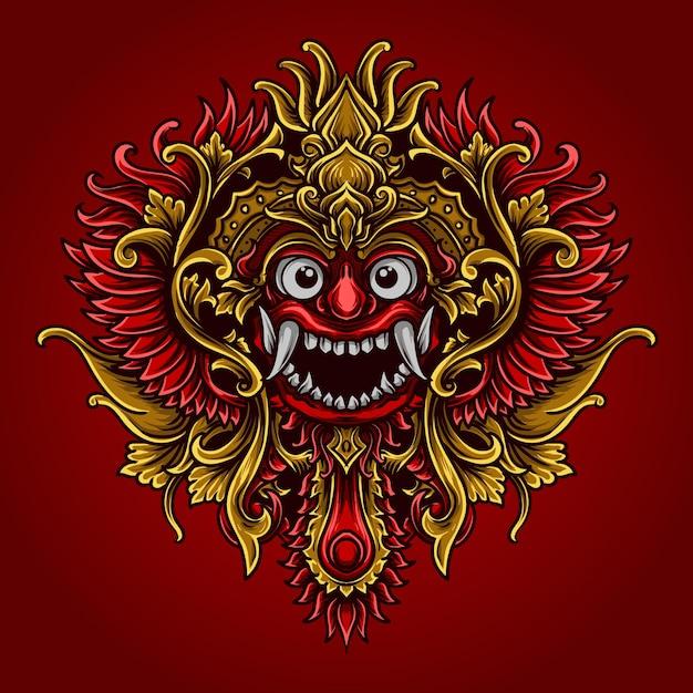 Illustrazione grafica e t-shirt balinese barong Vettore Premium