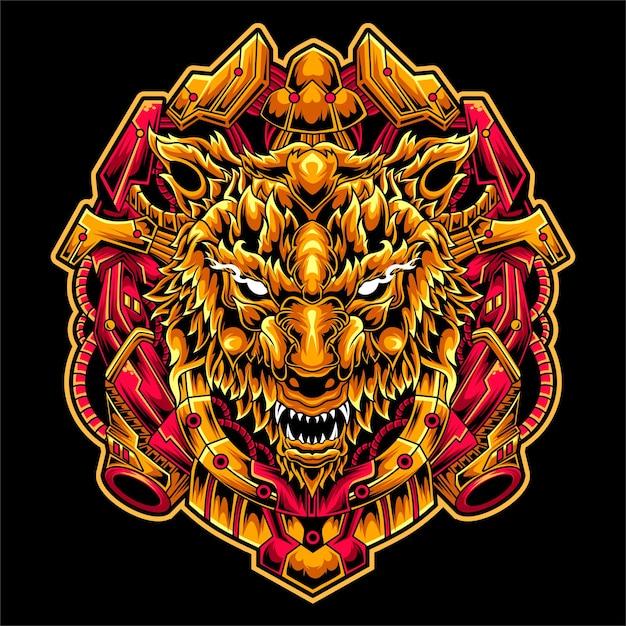Illustrazione stupefacente di progettazione della mascotte del lupo del mecha dell'opera d'arte Vettore Premium