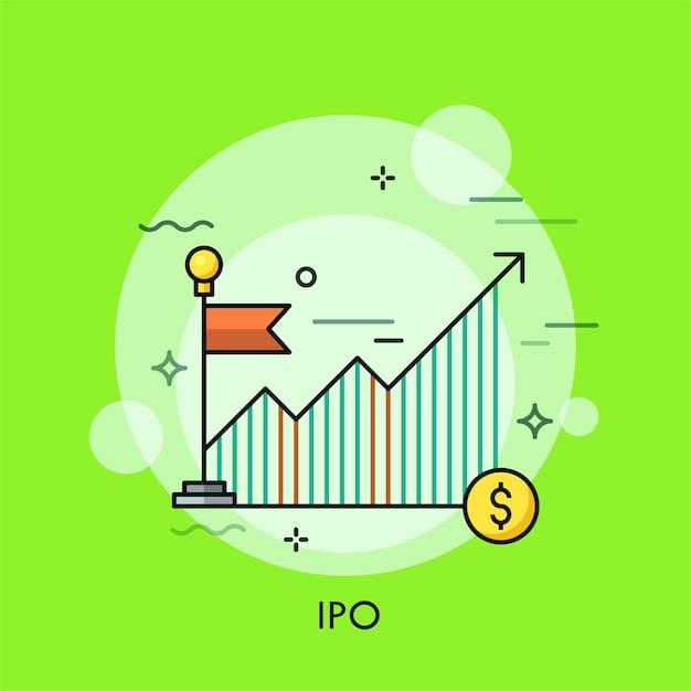 Crescente grafico o grafico, bandiera rossa e moneta da un dollaro. Vettore Premium