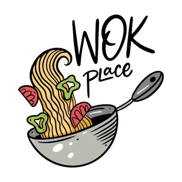 Asia noodle nell'illustrazione profonda della ciotola Vettore Premium