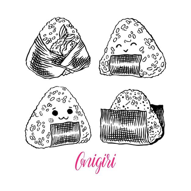 Cibo asiatico. simpatico set di diversi onigiri schizzo. illustrazione disegnata a mano Vettore Premium