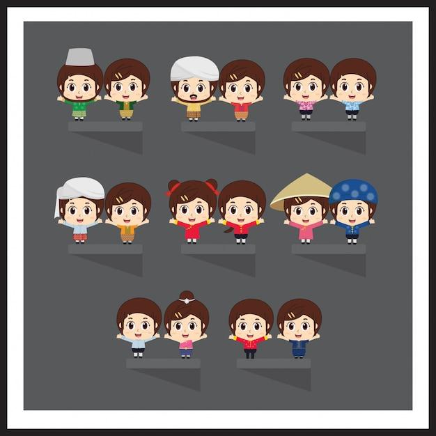 Asiatica in abiti nazionali. sud-est asiatico. set di personaggi dei cartoni animati in costume tradizionale. Vettore Premium