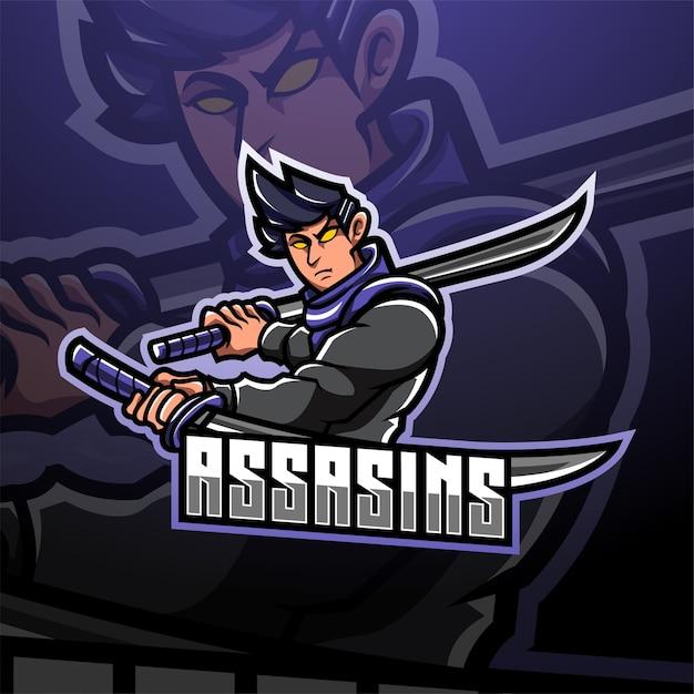 Logo della mascotte di assassino esport Vettore Premium