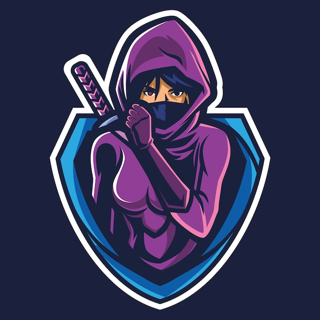 Assassin girl esport logo illustrazione Vettore Premium
