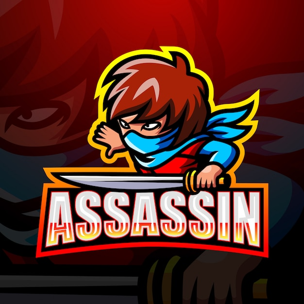 Illustrazione di esport mascotte assassino Vettore Premium