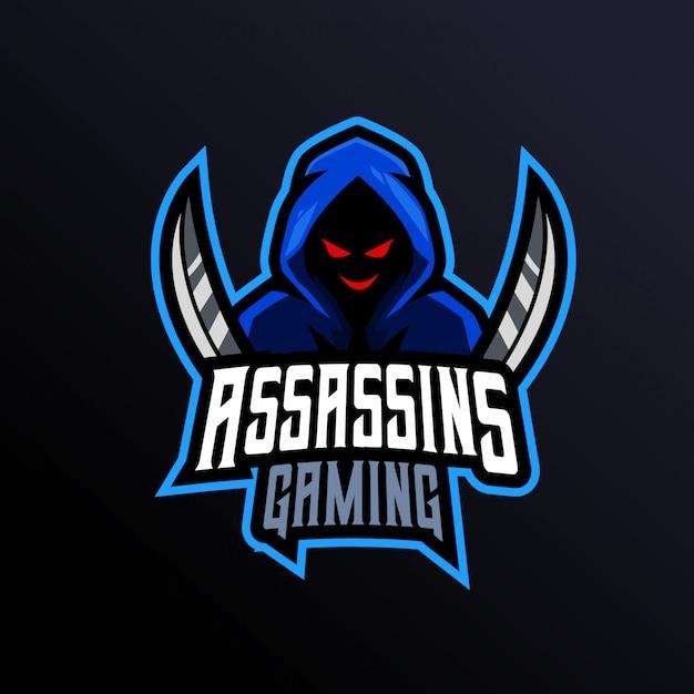 Assassins gaming mascot logo Vettore Premium