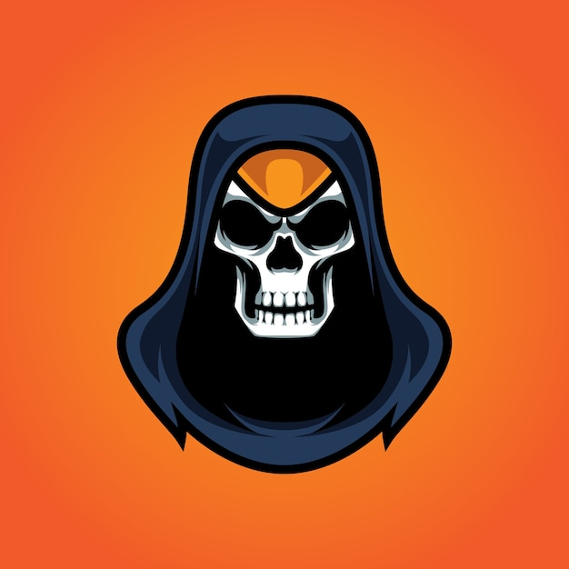 Logo della mascotte di assassins skull e sport Vettore Premium