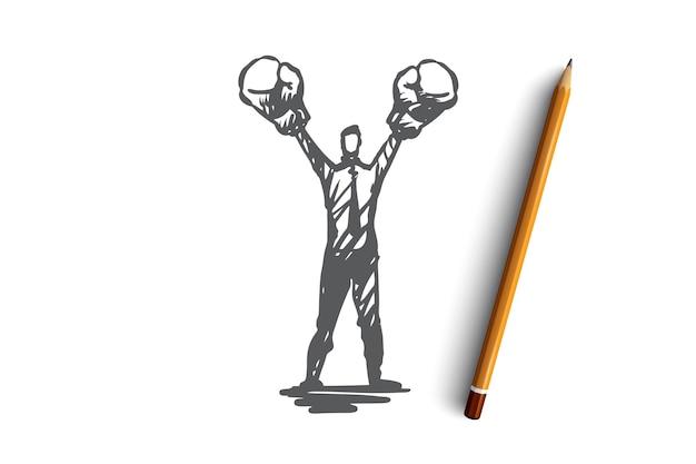 Assertività, successo, lavoro, competenza, concetto di motivazione. schizzo di concetto di uomo d'affari risoluto disegnato a mano. Vettore Premium