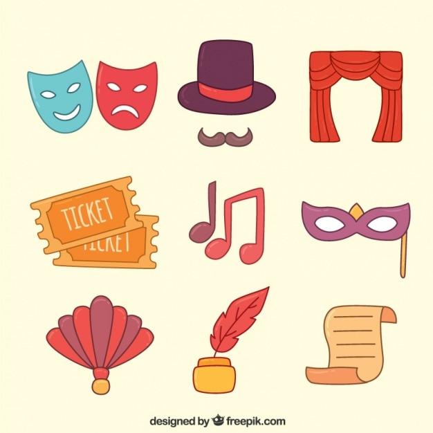 Assortimento di fantastici oggetti teatrali colorati Vettore Premium
