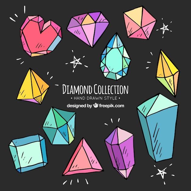 Assortimento di diamanti disegnati a mano Vettore Premium