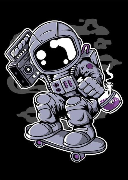 Personaggio dei cartoni animati di astroanut skater boombox Vettore Premium