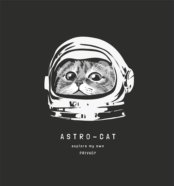 Slogan di astrocat con simpatico gatto nell'illustrazione del casco da astronauta Vettore Premium