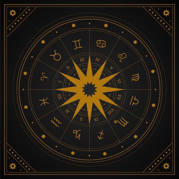 Ruota di astrologia con segni zodiacali in stile boho. Vettore Premium