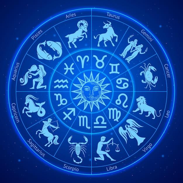 Segni zodiacali astrologia in cerchio Vettore Premium