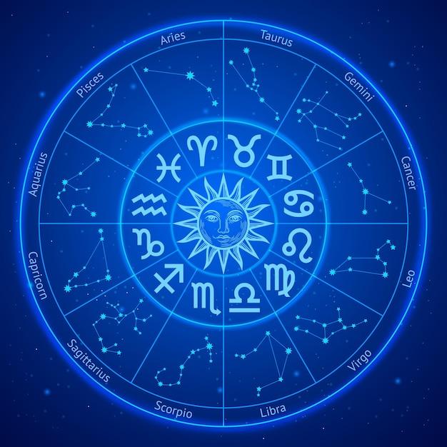 Segni zodiacali astrologia stelle in cerchio Vettore Premium