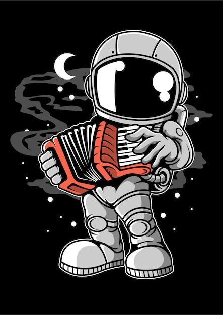 Personaggio dei cartoni animati di fisarmonica di astronauta Vettore Premium
