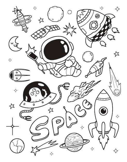 Astronauta e alieno doodle Vettore Premium