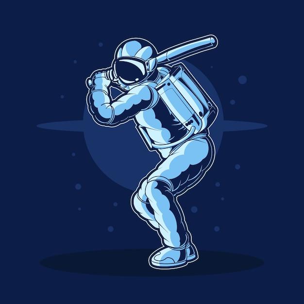 Disegno dell'illustrazione di baseball dell'astronauta Vettore Premium