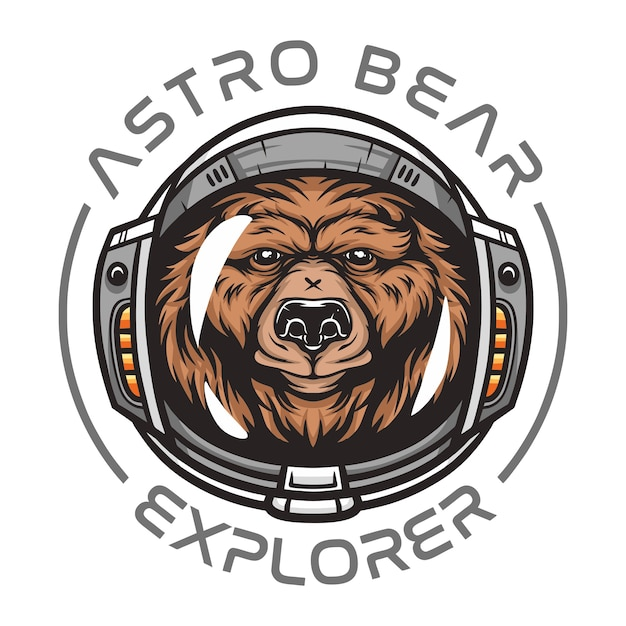 Orso astronauta, animale selvatico che indossa tuta spaziale illustrazione di animali selvatici per t-shirt Vettore Premium