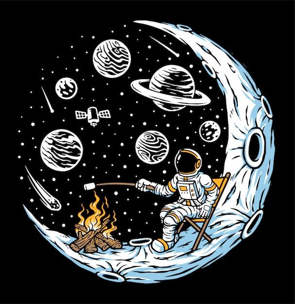 L'astronauta brucia marshmallow con falò sull'illustrazione della luna Vettore Premium