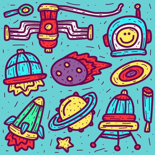 Doodle del fumetto dell'astronauta Vettore Premium