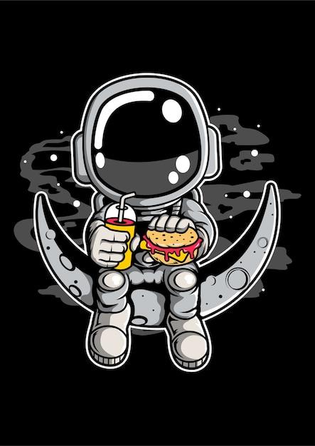 Personaggio dei cartoni animati di astronauta crescent Vettore Premium