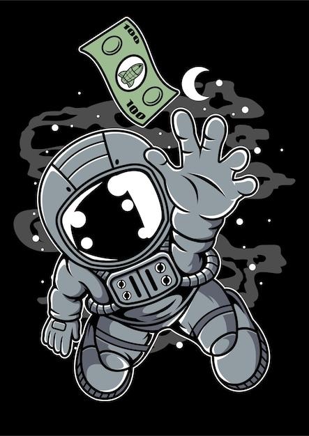 Dollaro astronauta Vettore Premium