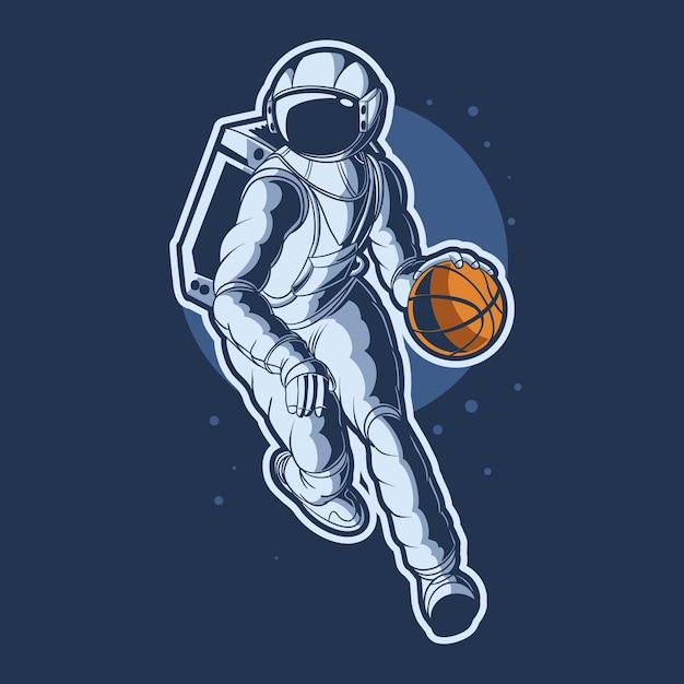 Astronauta dribbling basket ball illustration design Vettore Premium