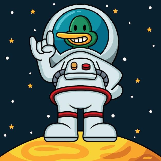 Astronauta anatra icona illustrazione Vettore Premium