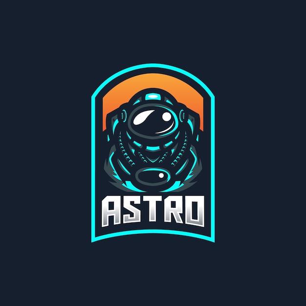 Modello di logo della mascotte di gioco di astronauta esport per la squadra di streamer. Vettore Premium