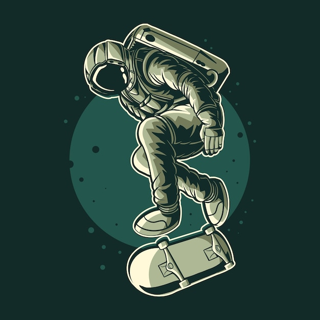 Astronauta freestyle illustration design Vettore Premium