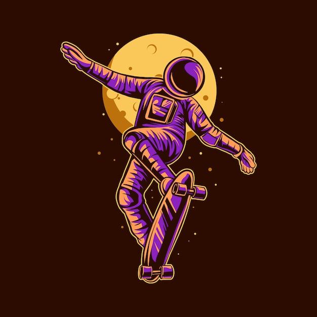 Progettazione dell'illustrazione di skateboard di stile libero dell'astronauta Vettore Premium