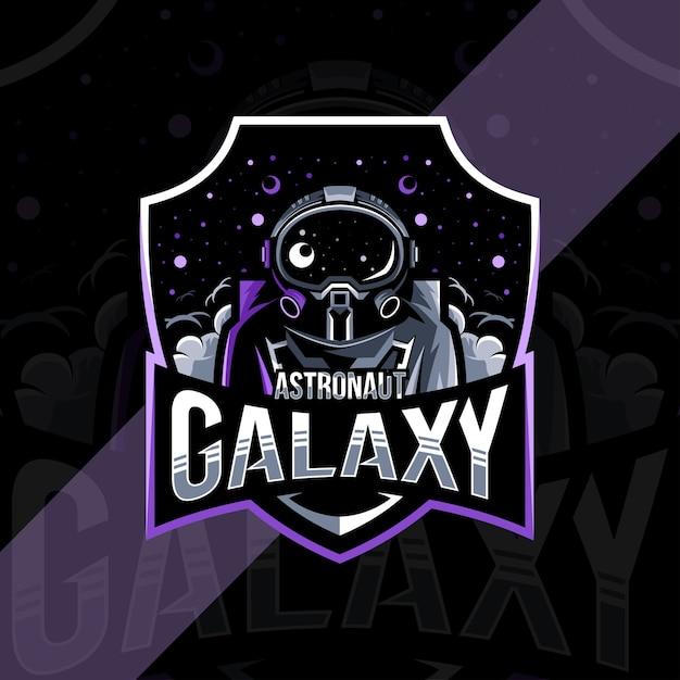Astronauta galassia mascotte logo esport design Vettore Premium