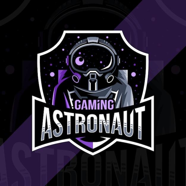 Disegno del modello di esportazione logo mascotte astronauta gioco Vettore Premium