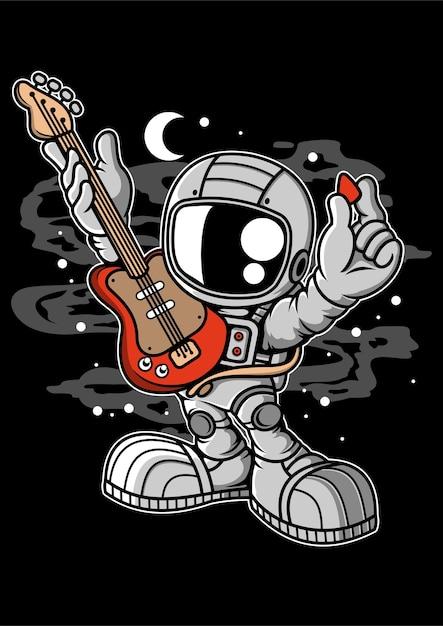 Personaggio dei cartoni animati di chitarra astronauta Vettore Premium