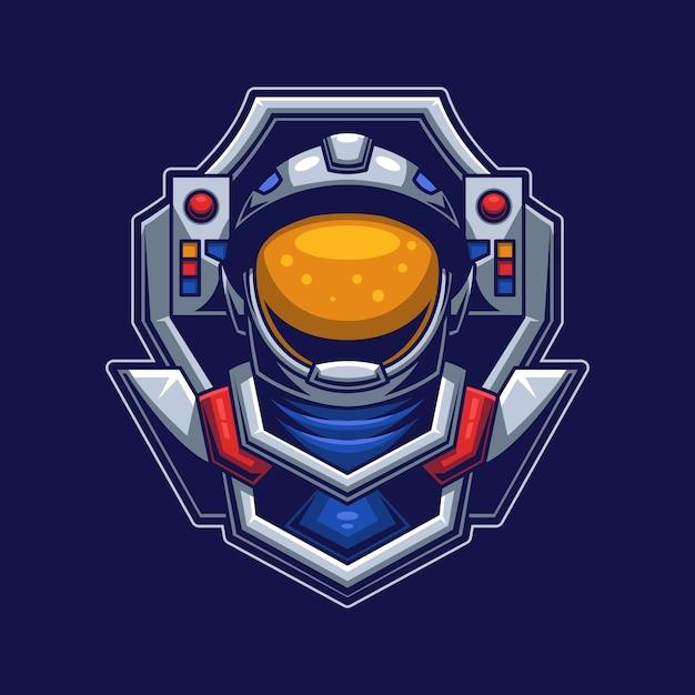 Testa di astronauta con il concetto di maschera Vettore Premium
