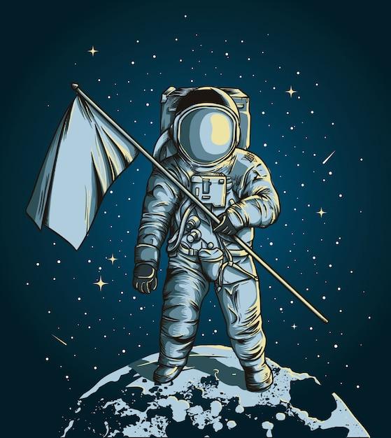 Astronauta in possesso di una bandiera sopra la luna con lo spazio esterno Vettore Premium