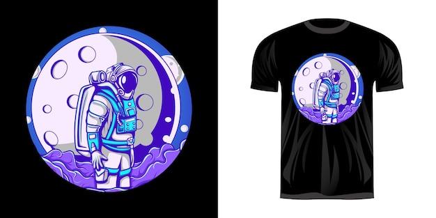 Disegno dell'illustrazione dell'astronauta e vista della luna per il design della maglietta Vettore Premium