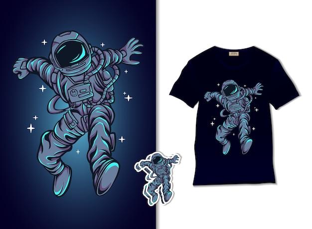 L'astronauta salta sull'illustrazione del cielo Vettore Premium