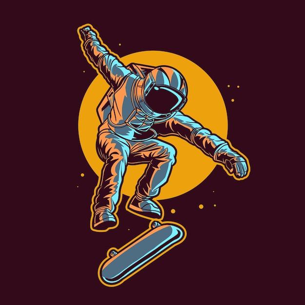 L'astronauta salta sullo skateboard spaziale con sfondo di luna Vettore Premium